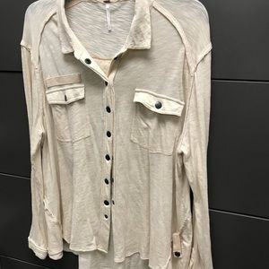 Free people relaxed snap button up top